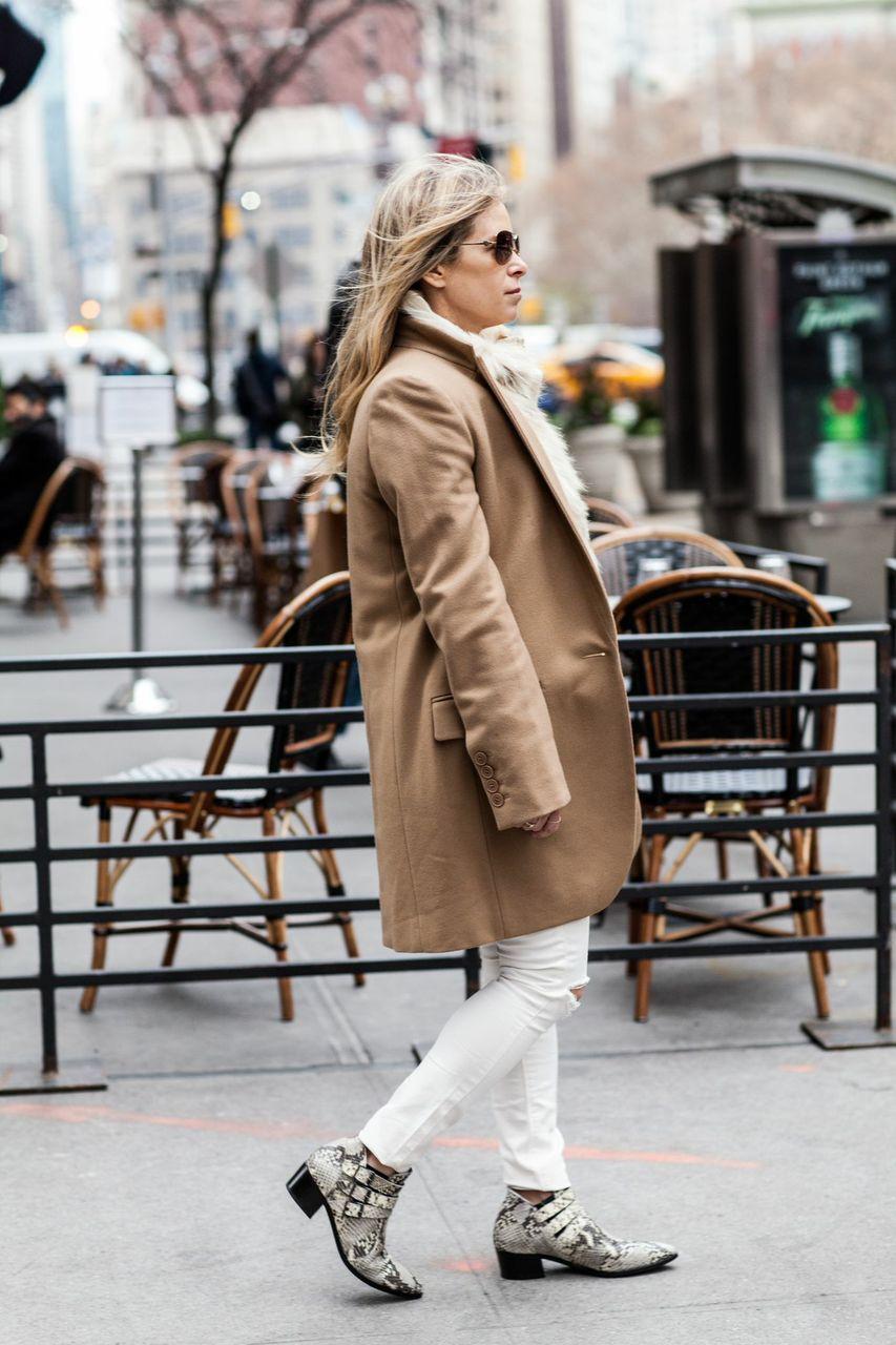 camel coat white jeans