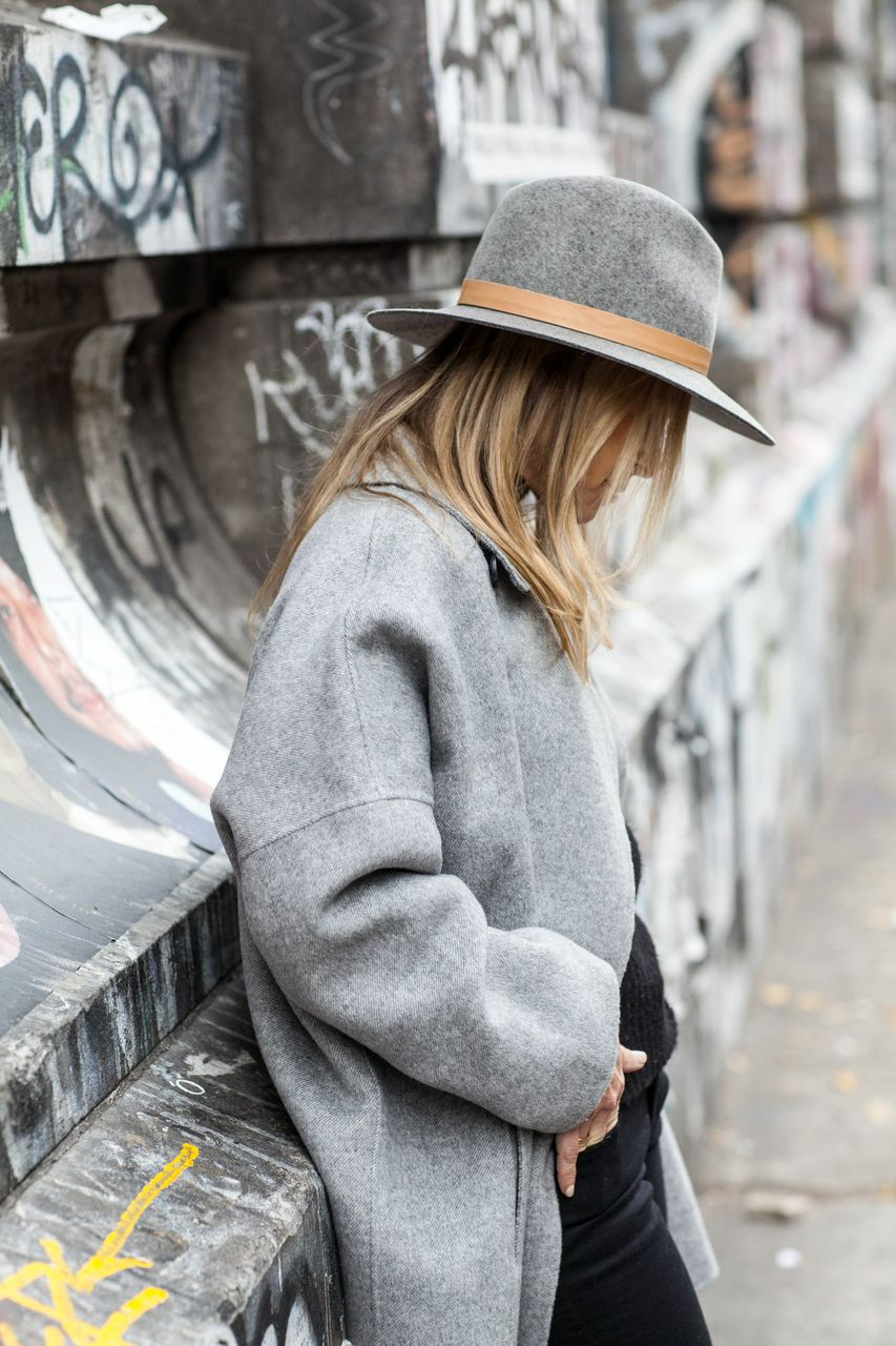 grey coat with grey hat