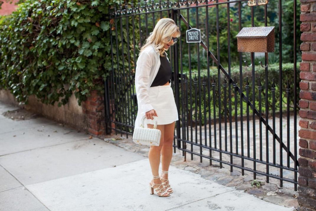 black crop top white skirt