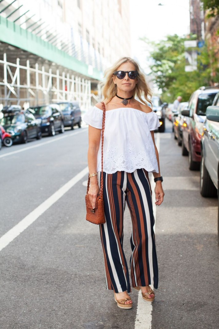 striped pants and crop top