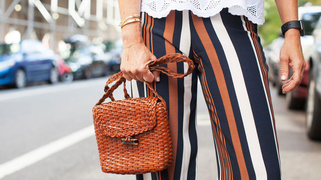 vintage bag, striped pants