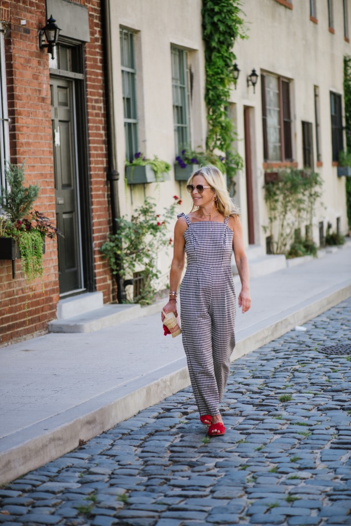 how to pee in a gingham jumpsuit