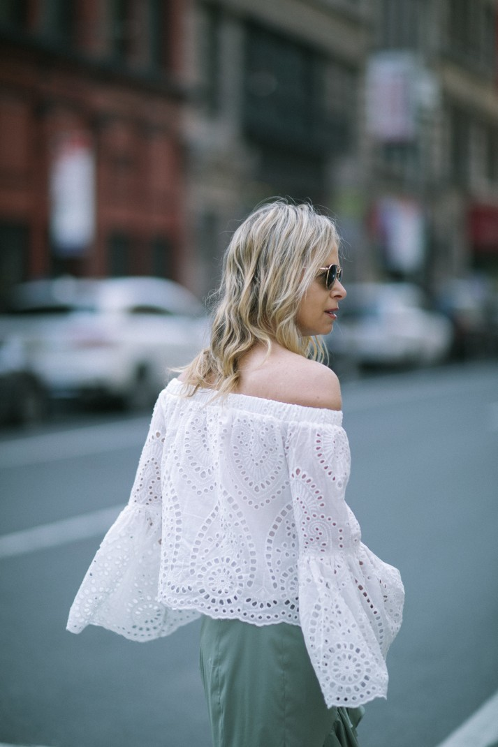 white off the shoulder top for summer